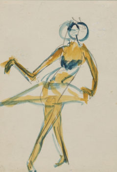 Ernst Ludwig Kirchner 'Costumed Female Dancer' 1910, watercolor and graphite on thin cream wove paper. Formerly collection Robert Lehman.