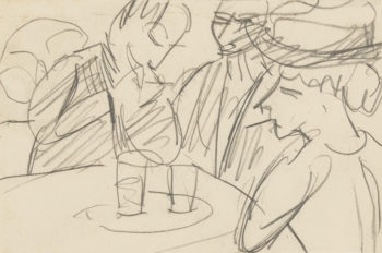 Ernst Ludwig Kirchner, 'Three Figures At Cafe Table', circa 1915, graphite on thin cream wove paper. Formerly collection Robert Lehman.
