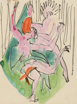 Ernst Ludwig Kirchner, 'Two Dancers' 1927, pen and ink, watercolor and graphite on thin cream wove paper. Formerly collection Robert Lehman.