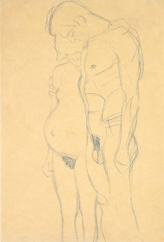 "Gustav Klimt, ""Pregnant Woman and Man,"" 1903-04, blue crayon on heavy tan wove paper. Formerly collection Robert Lehman."